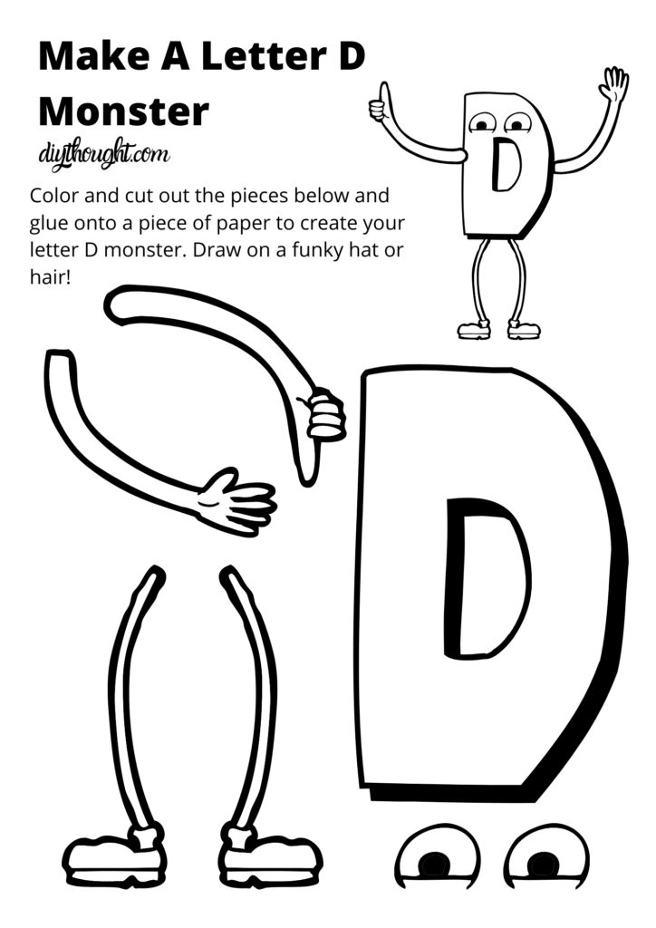 make a monster letter d worksheet