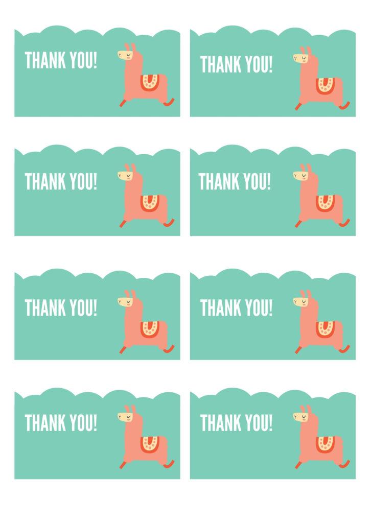 llama free thank you tag printable