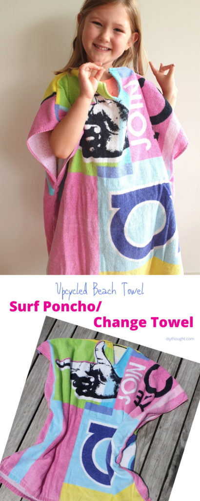 Upcycled beach towel to surf poncho