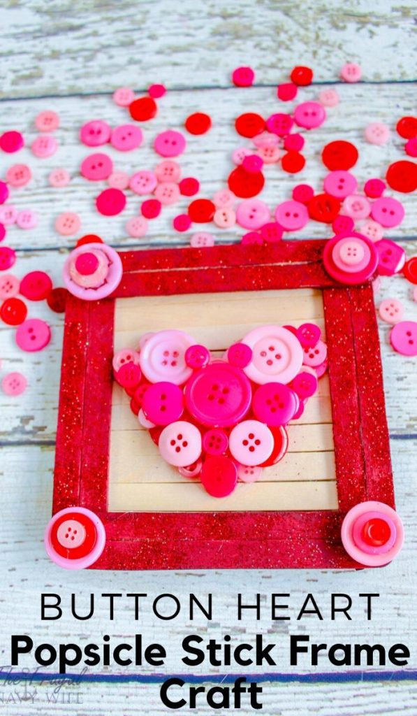 button heart craft stick frame