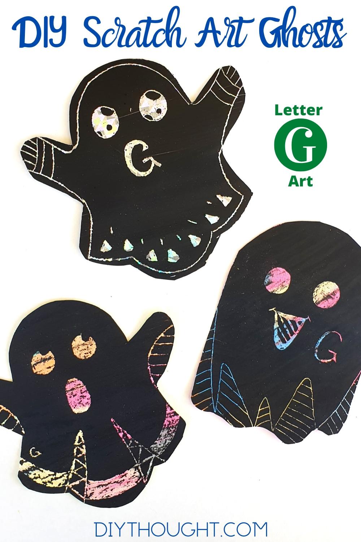 Letter G DIY scratch art ghost