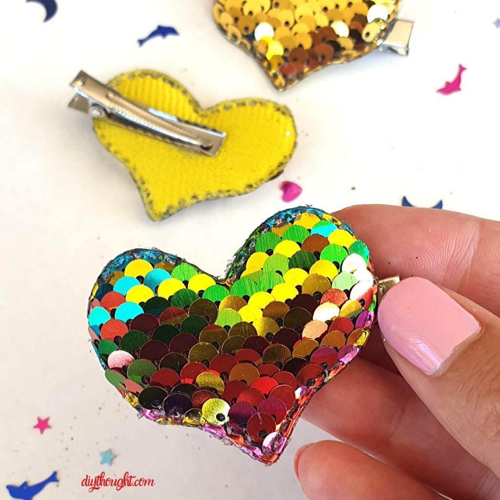 DIY heart hair clips