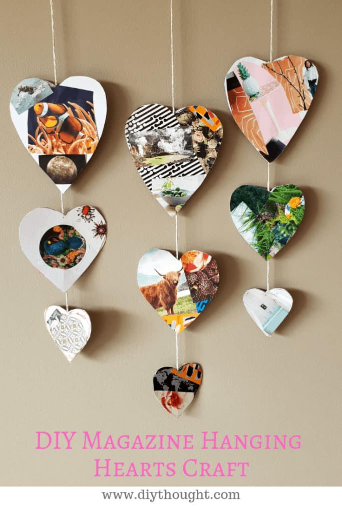 magazine heart mobile craft