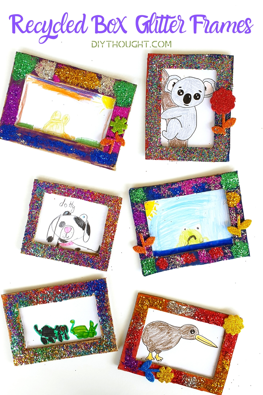 recycled box glitter frames