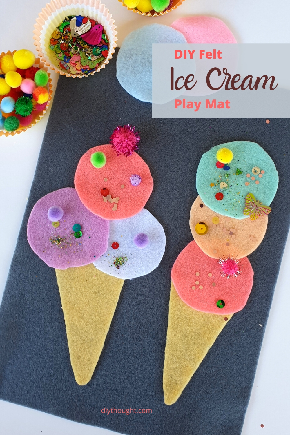 Felt ice cream play mat DIY