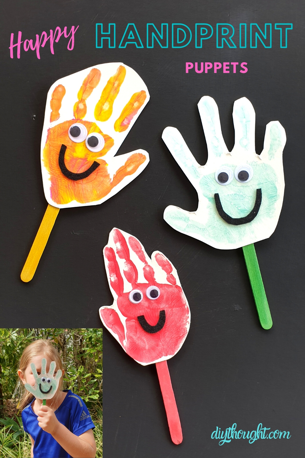 DIY happy handprint puppets
