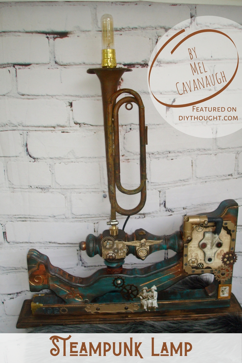 steampunk trumpet lamp