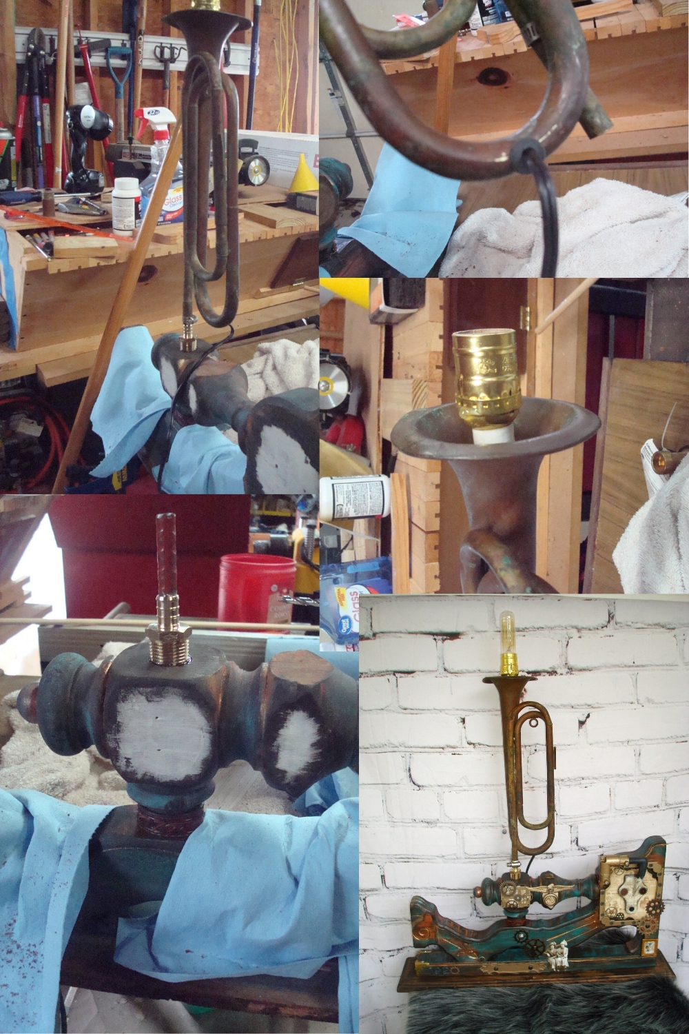 steampunk trumpet lamp process