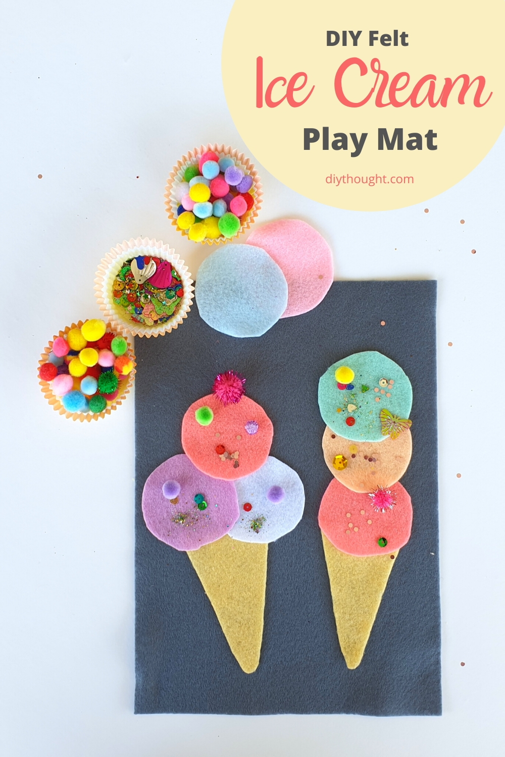 DIY Felt ice cream play mat
