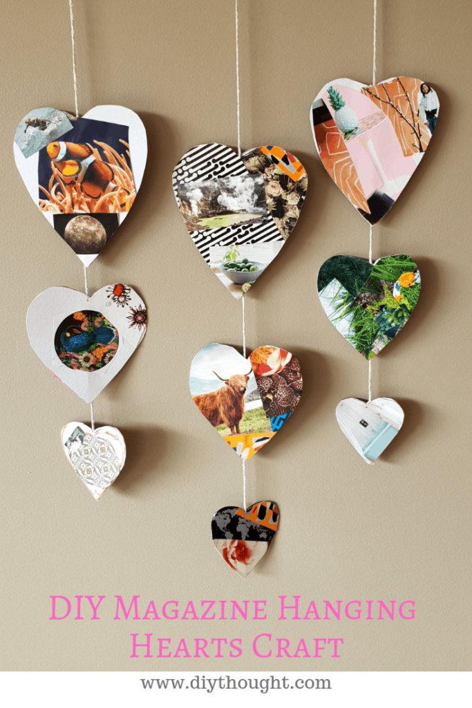 magazine hanging hearts craft