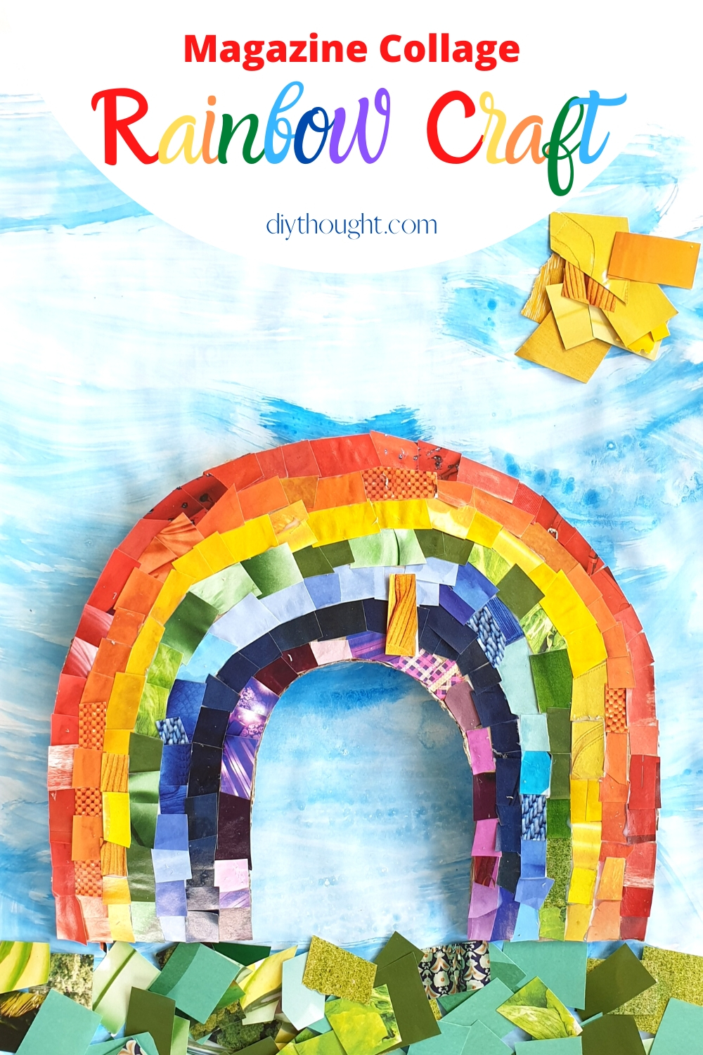 DIY rainbow collage from magazine clippings