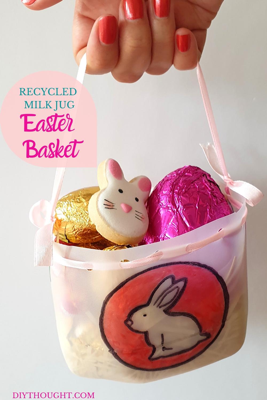 Recycled milk jug Easter basket DIY