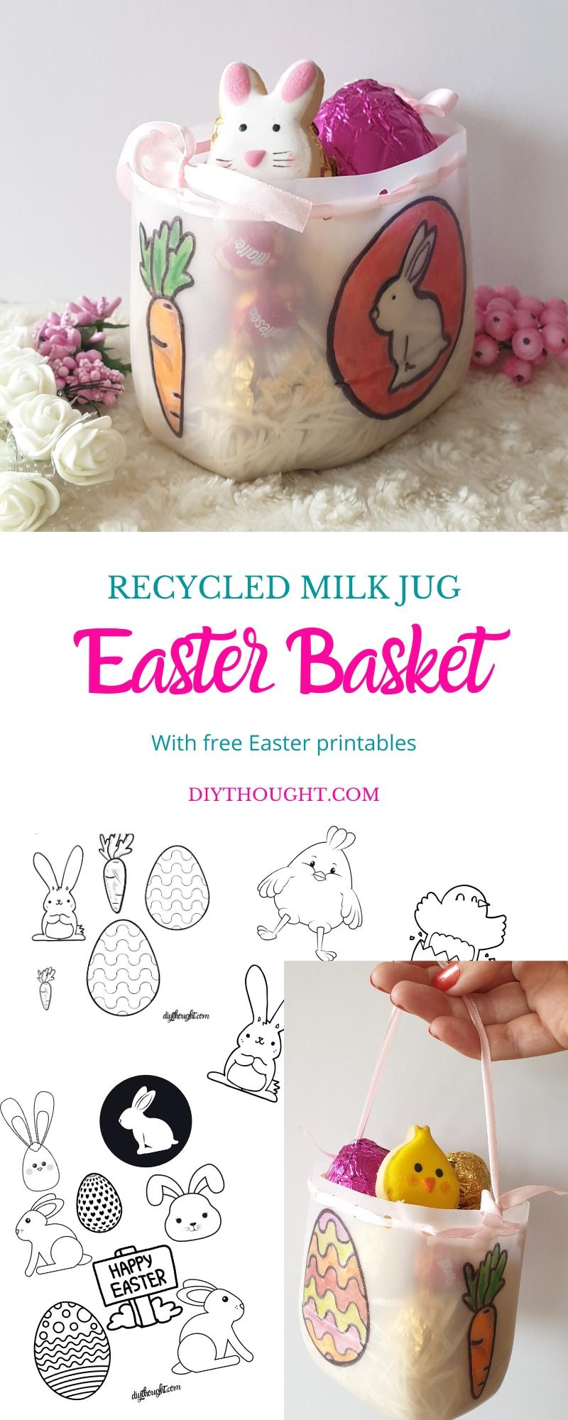 recycled milk jug Easter basket. Free Printables