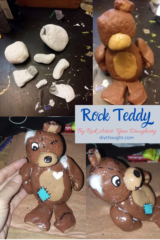 Painted rock teddy bear