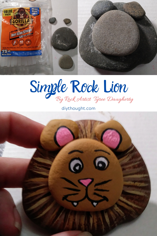 Simple DIY painted lion rocks