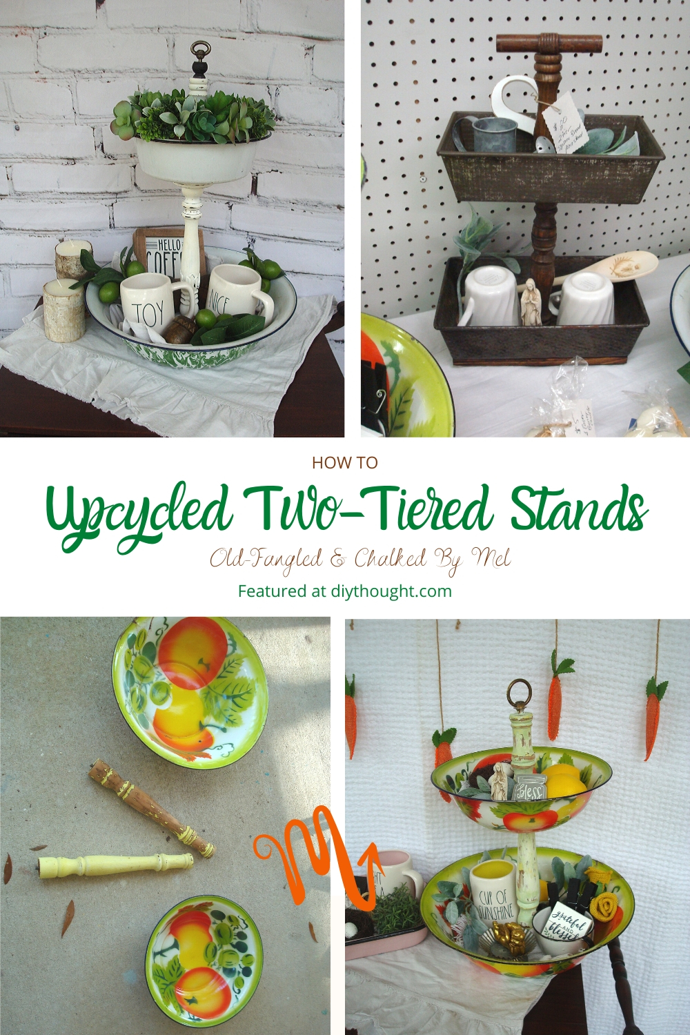 how to upcycle two tiered stands