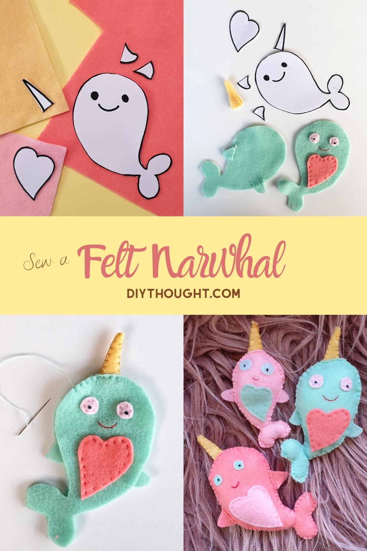 Sew a felt narwhal