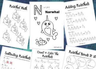 narwhal math printable pack