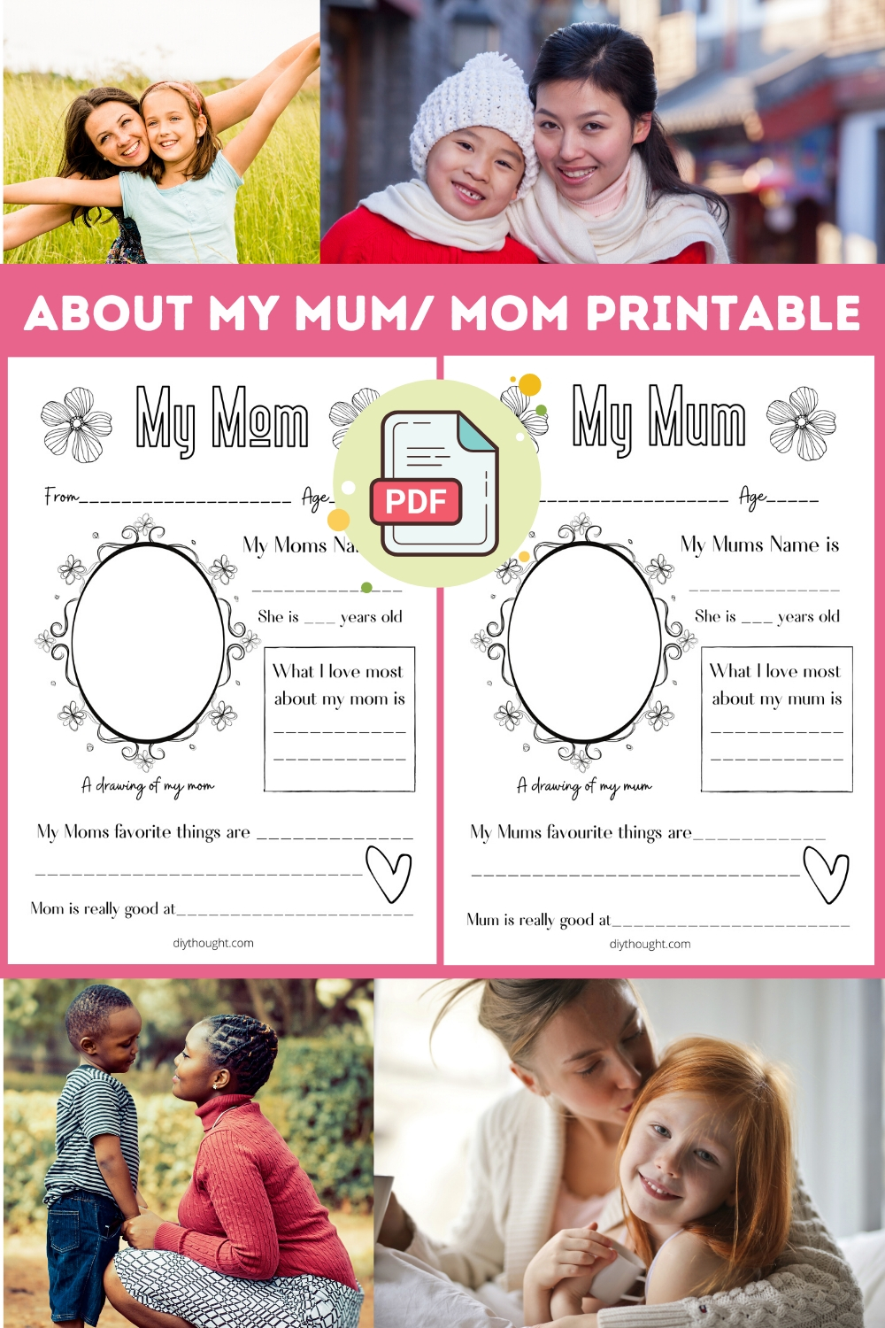 about my mum/ mom printable