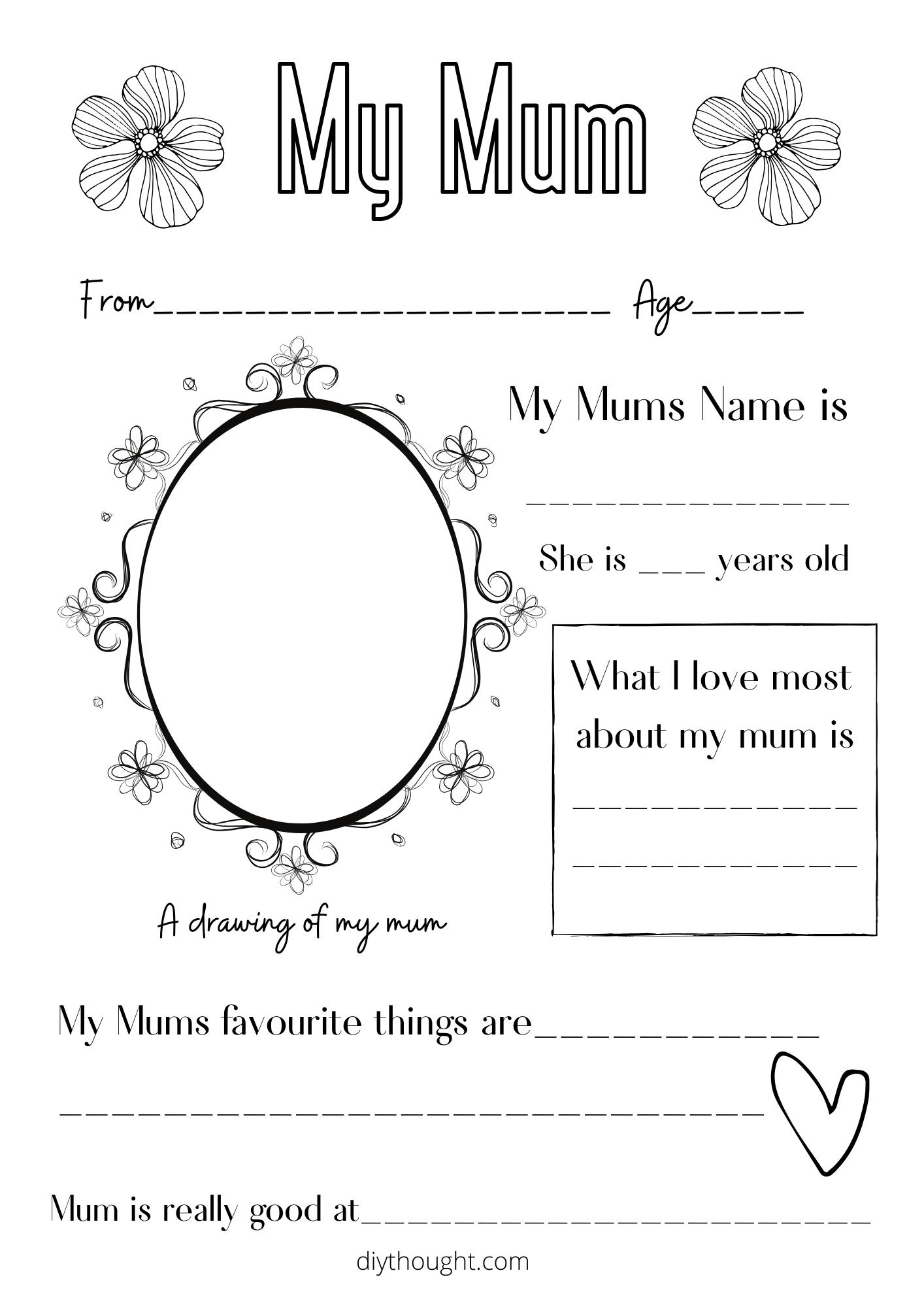 my mum printable