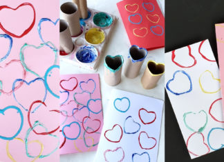 toilet roll heart stamp cards