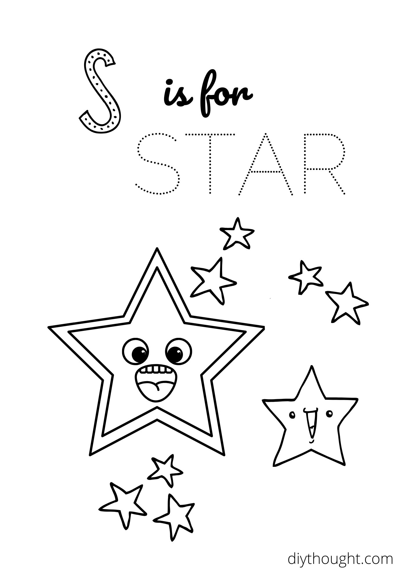 s is for star coloring printable