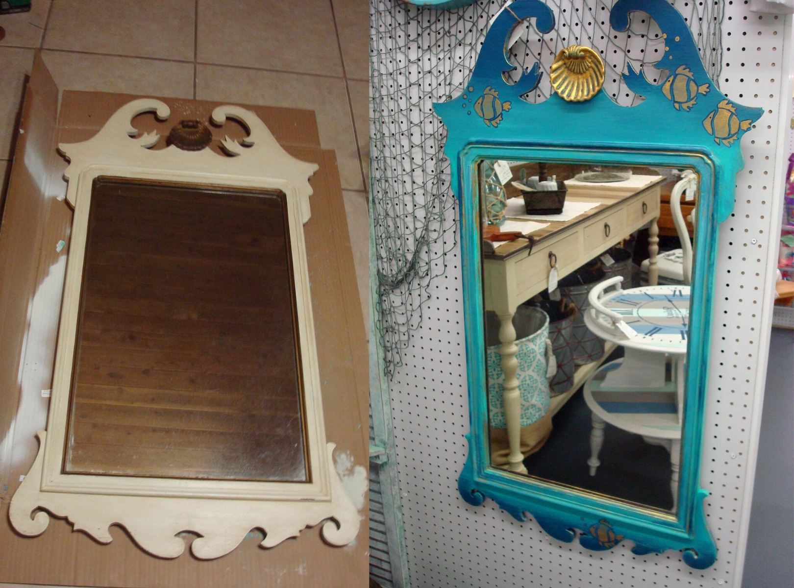 Upcycled Beach Mirror Diy Thought