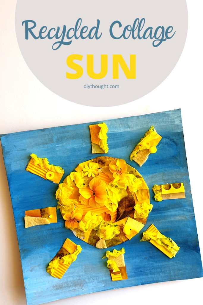 recycled collage sun craft