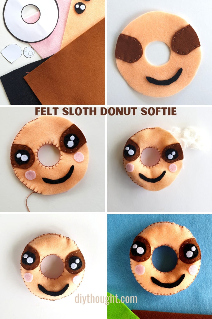 how to make a felt sloth donut softie