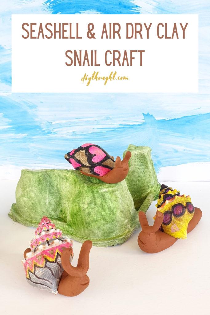 seashell & air dry clay snail