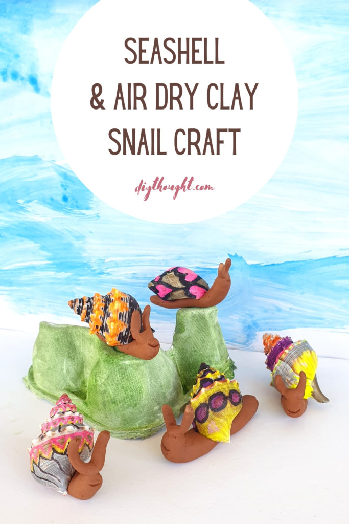 seashell and air dry clay snail craft