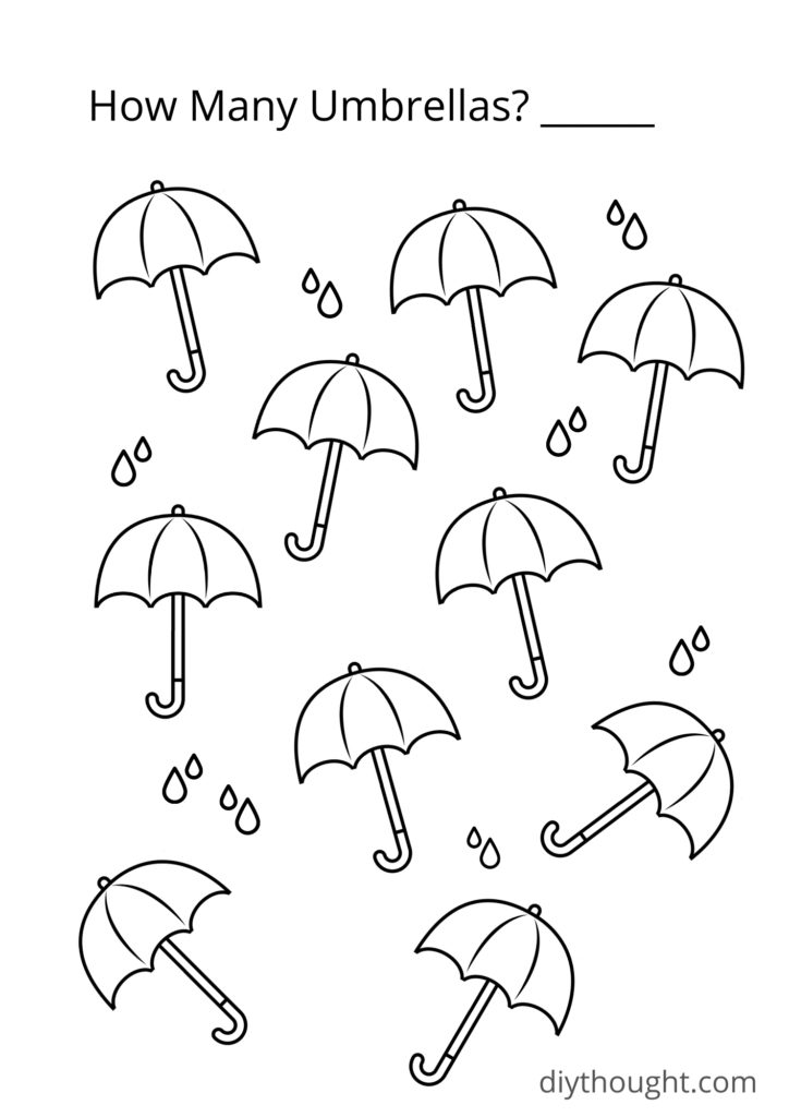 umbrella counting coloring printable
