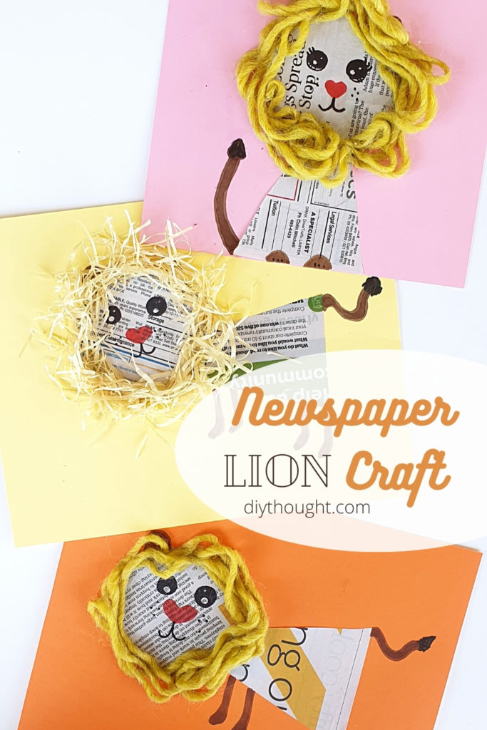 DIY newspaper lion craft