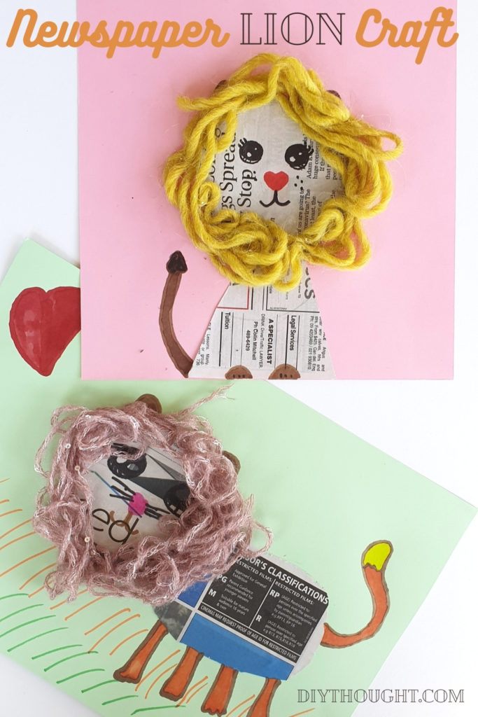 Newspaper lion kids craft