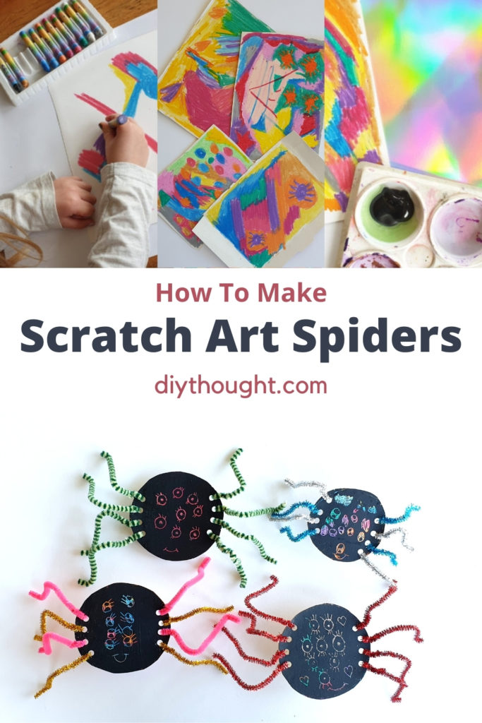 how to make scratch art spiders