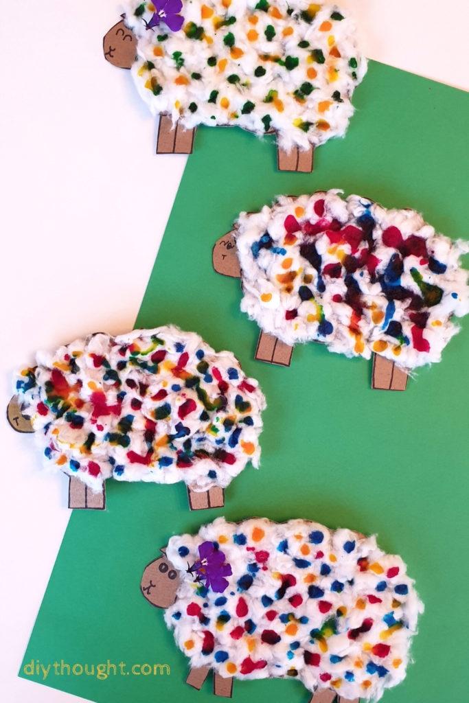 cardboard woolly sheep kids craft