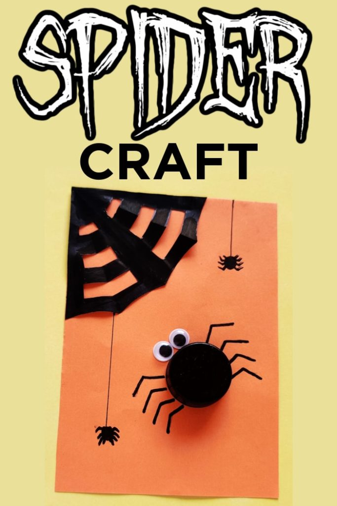 plastic lid spider craft