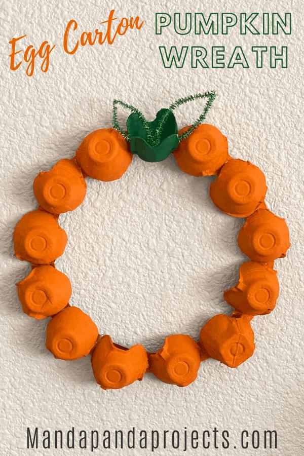 egg carton pumpkin wreath