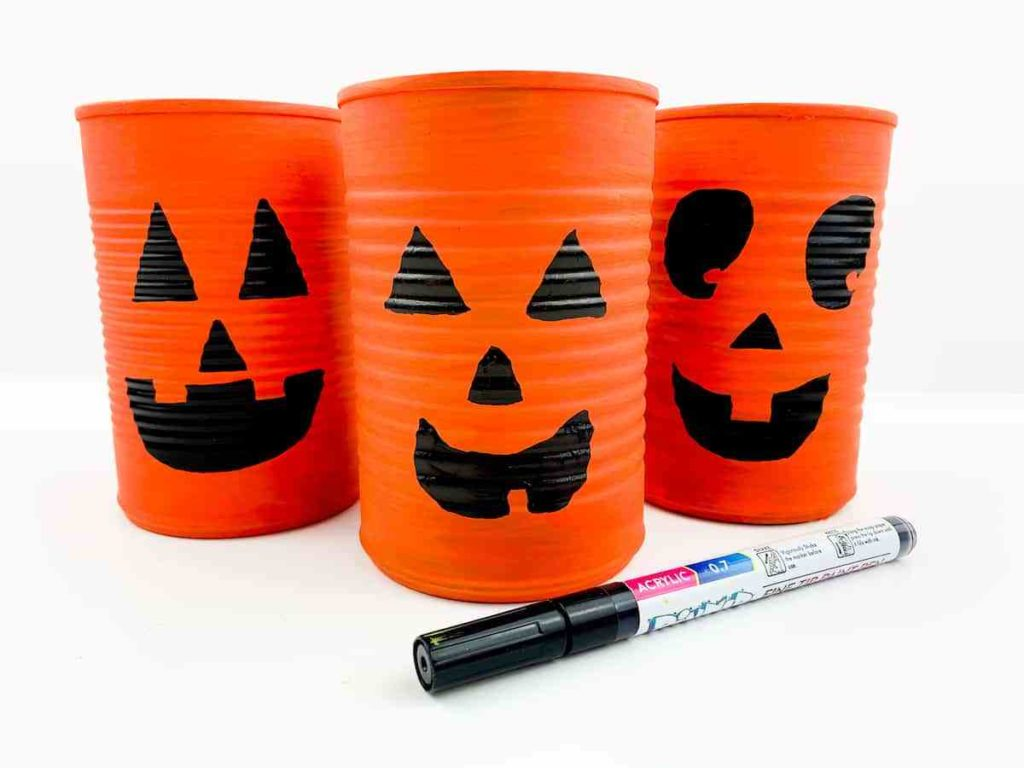 tin can jack o'lanterns