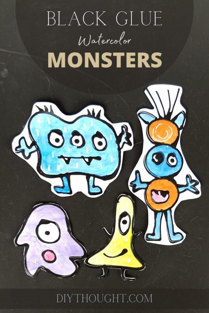 black glue watercolor monsters