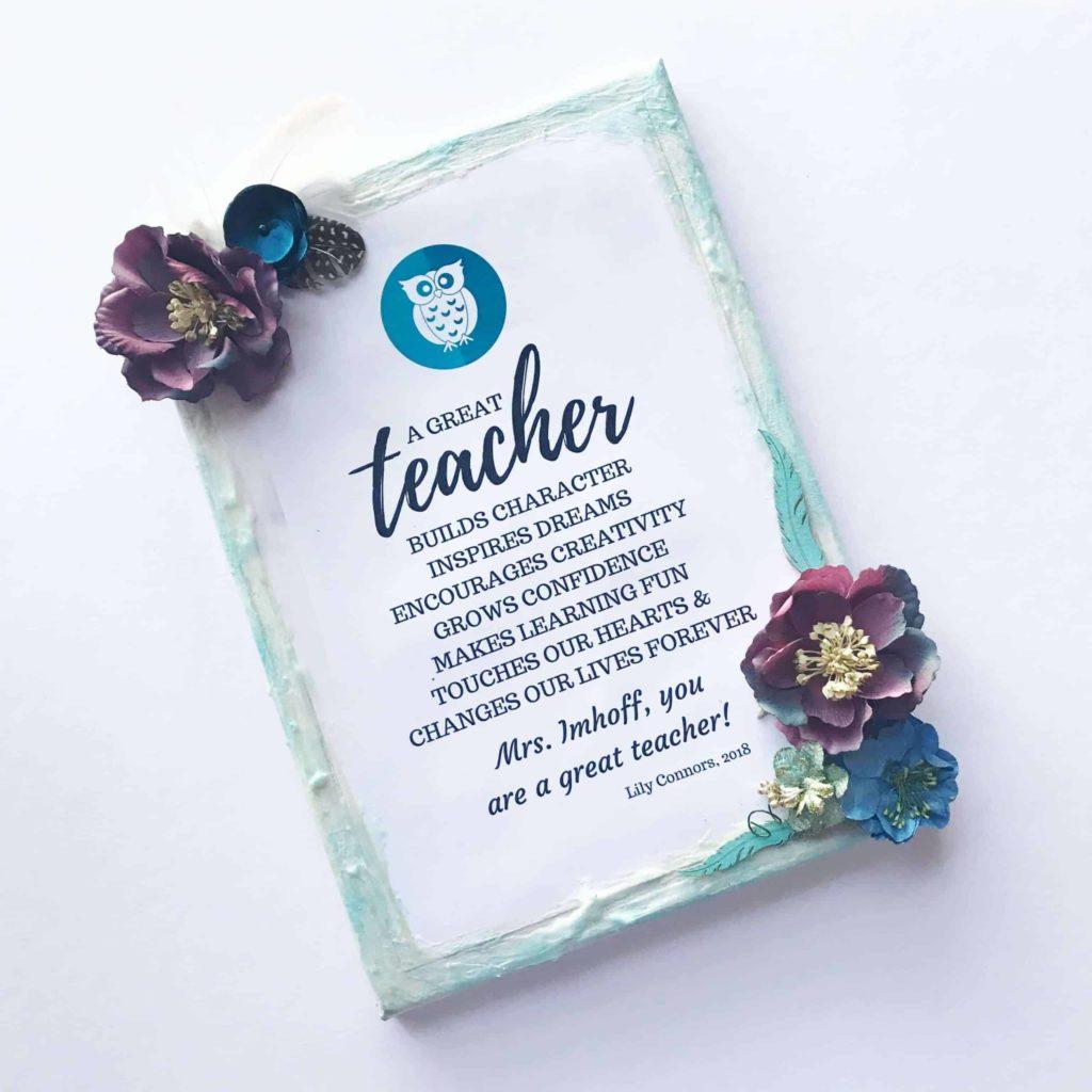 canvas for teacher. 30+ Ultimate DIY Christmas Teacher Gifts