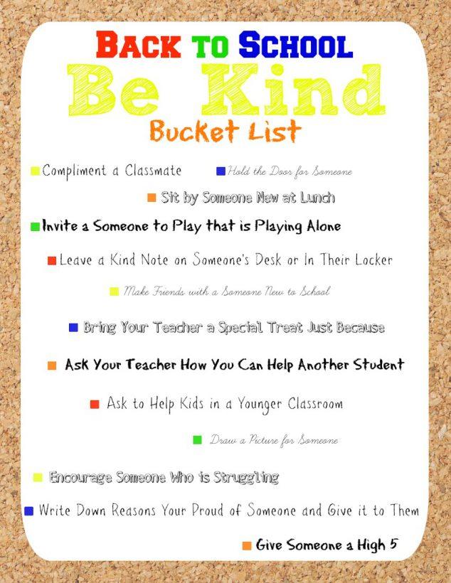 back to school kindness bucket list
