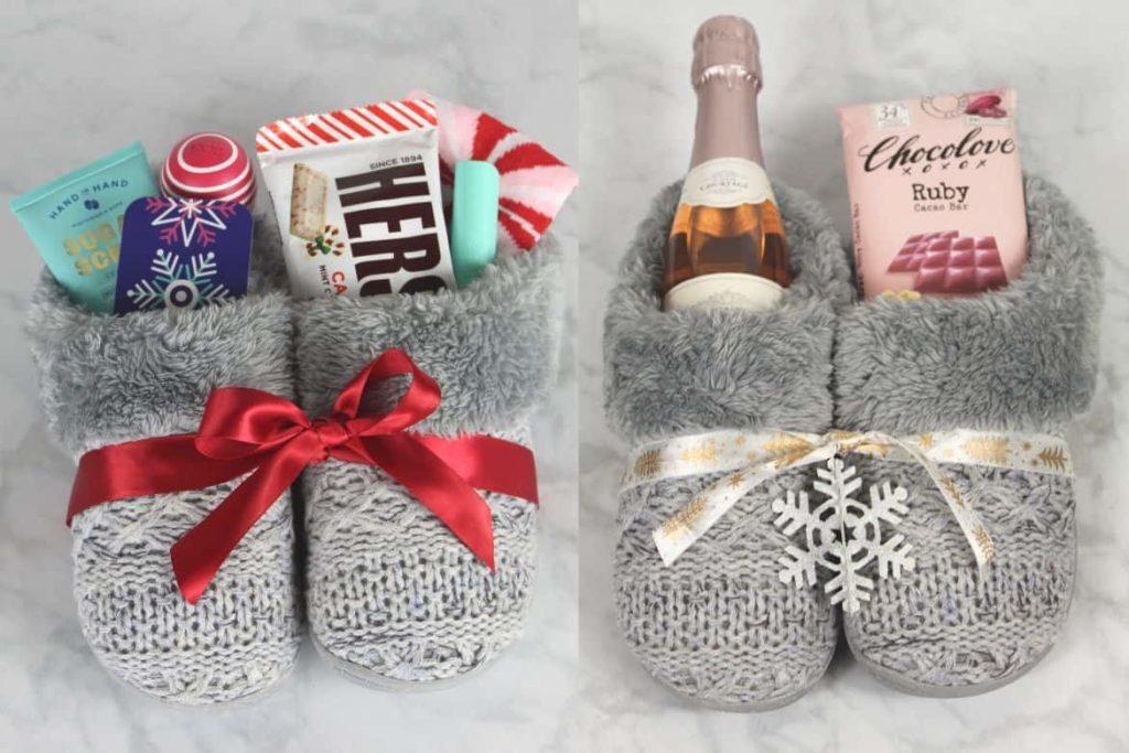 DIY slipper gift. 30+ Ultimate DIY Christmas Teacher Gifts
