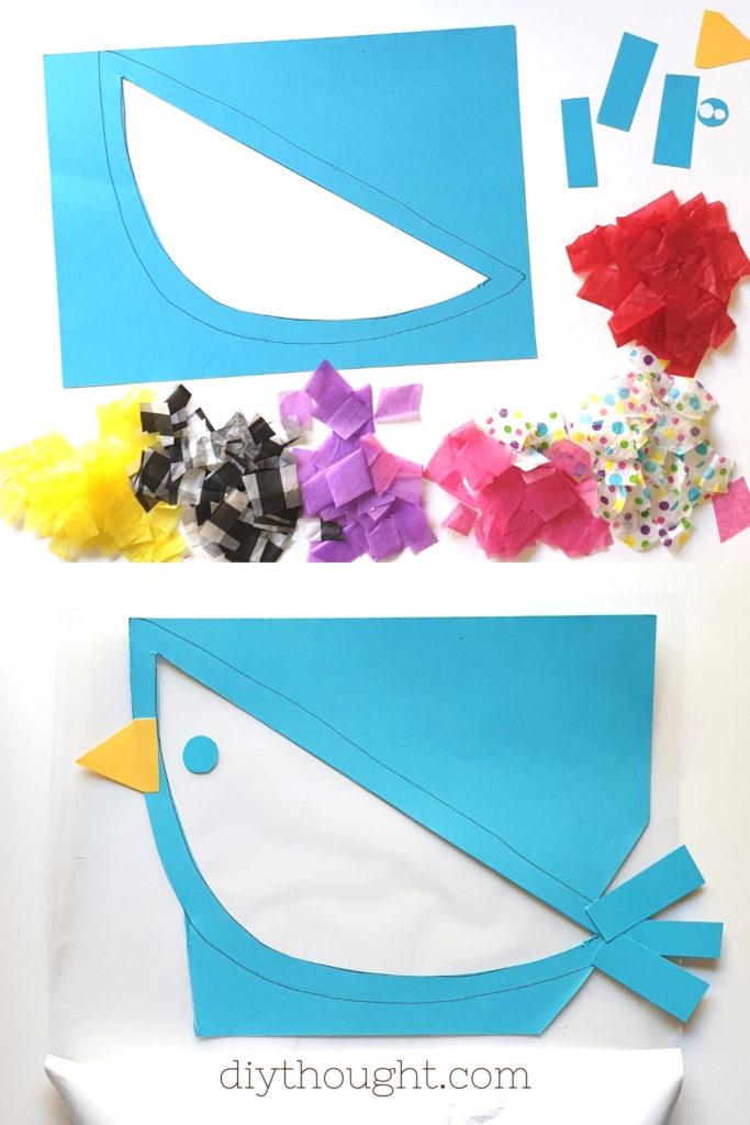 how to make a tissue suncatcher bird