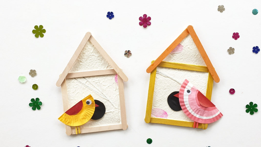 popsicle stick birdhouse craft