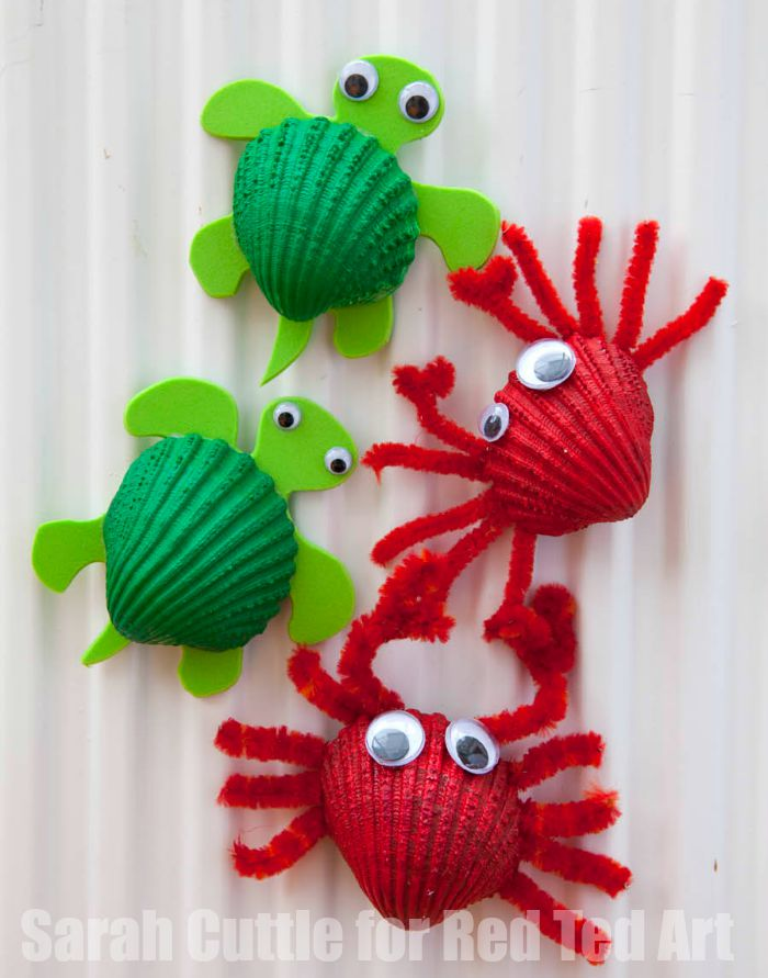 seashell crafts for kids crab and turtle magnets