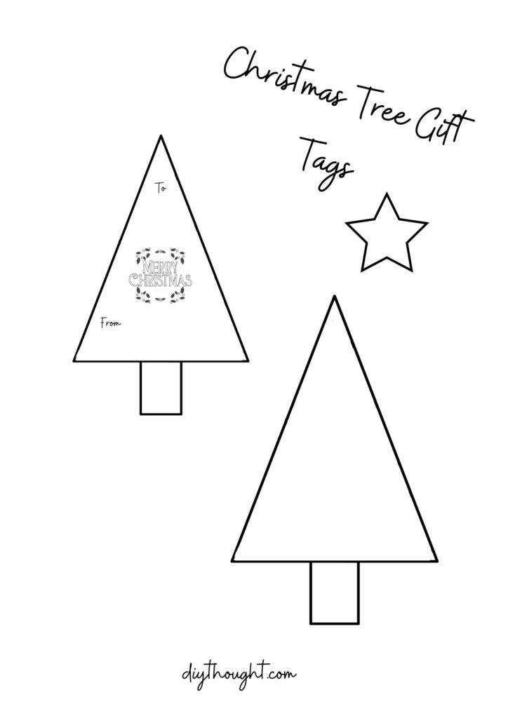 printable to make washi tape Christmas tree gift tags