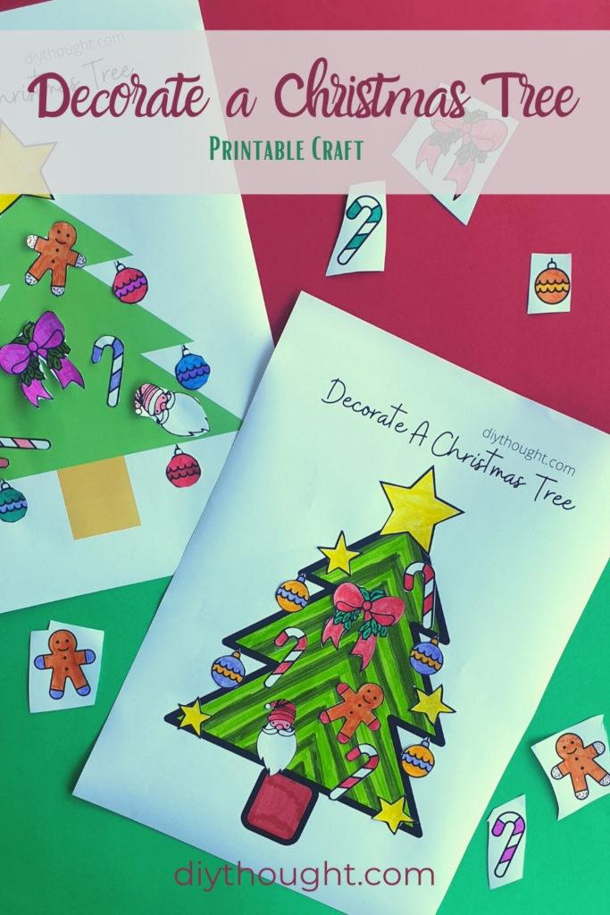 decorate a Christmas tree. Printable kids craft