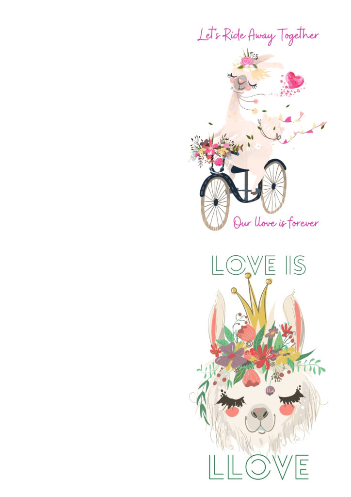 Free Llama Love Printable Cards