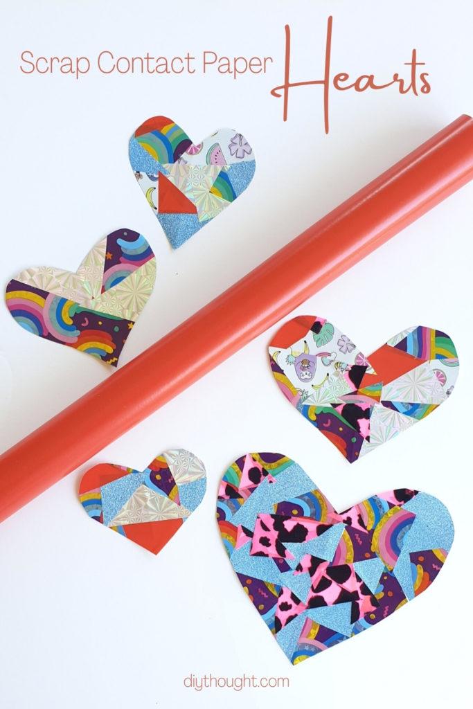 scrap contact paper hearts